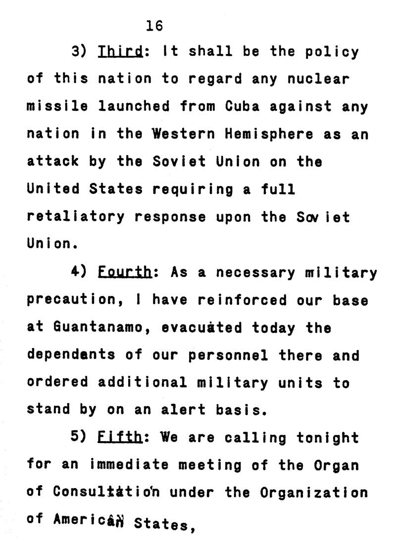 john f kennedy cuban missile crisis speech
