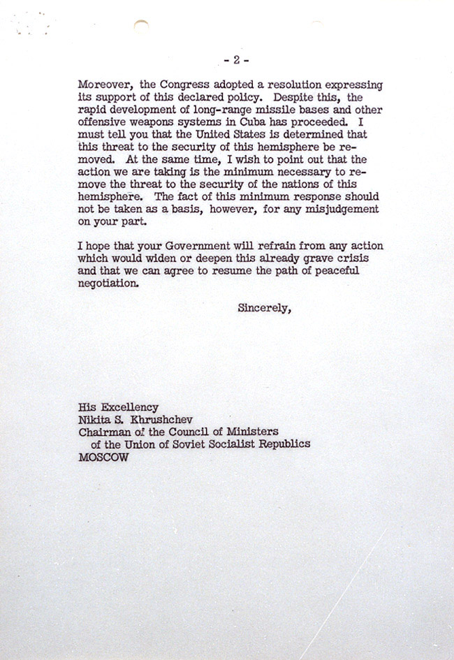 Cuban missile crisis john f kennedy presidential library museum page 1 of president kennedys letter to premiere khrushchev october 22 1962 altavistaventures Images