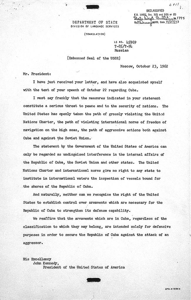 Essays on Cuban missile crisis