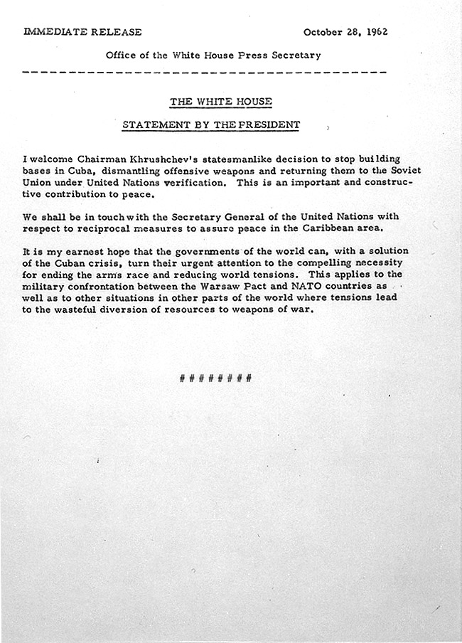 october 28  1962 - cuban missile crisis